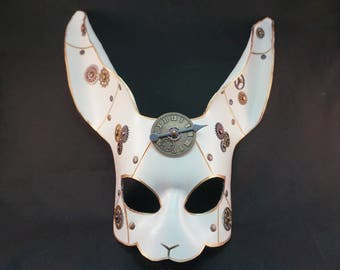 Rabbit Mask, Steampunk Rabbit, Leather mask, White Rabbit, Larp, Animal Mask, Cosplay, Fantasy Rabbit, bunny