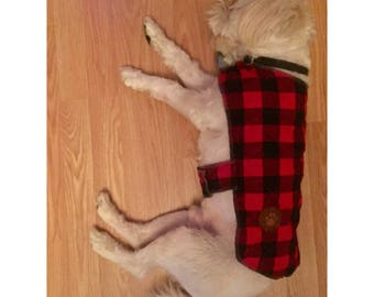 CUSTOM Plaid quilted dog coat with leather patch