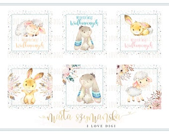 Easter printable digital collage sheet - pastel and watercolor animals - scrapbookind, cardmaking, party supplies POLISH EDITION