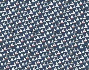 Sailboat Fabric/ Navy Sailboat/ Ocean Fabric/ Nautical Fabric/ By the Sea/ Riley Blake Fabric/ Navy Fabric/