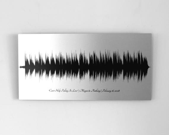 10 Year Anniversary Gifts Tin Gift For Husband 10th Aluminum Wedding Song Sound Wave Art Men Women