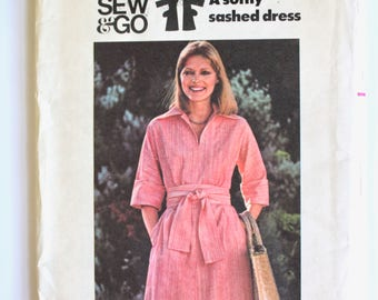 Vintage 1970's Womens Collared Tie Waist Knee Length Dress, Blouse Sewing Pattern Size 12 Bust 34 Butterick 4777