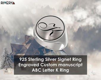 Custom Initial Ring ,Letter K ring, Monogram Ring, Letter Rings, Signet Ring, Round Ring, 925 Sterling Silver Ring