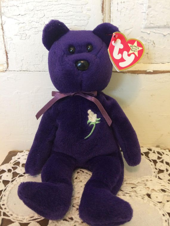 Vintage First Edition TY Rare Princess Diana Beanie Baby Made 0ca0fd38ef16