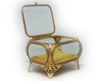 Gorgeous 24K Gold Finish Ormolu Jewelry Box with Beveled Glass Lid