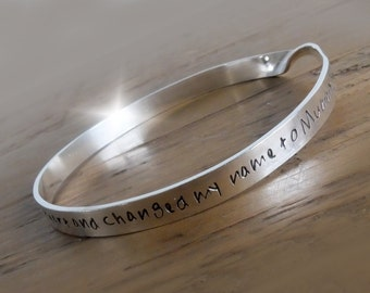 Personalised Twisted Silver Bangle, Personalised Bangle with Names, Bracelet with Message, Changed my Name to Mummy Bangle, Mommy Bangle