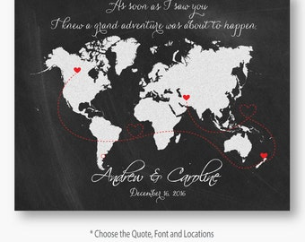 Personalized map wedding guest book watercolor world map personalized custom map wedding guest book chalkboard save the date invitation jpg pdf love world map gumiabroncs Images