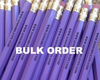 100 PENCILS Bulk Order - Personalized, Custom Printed #2 HB graphite, gold, silver, black or white foil