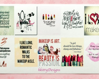 Makeup Themed Full Box Quote Stickers for your ECLP, Happy Planner, Filofax or PPP - 10 Stickers