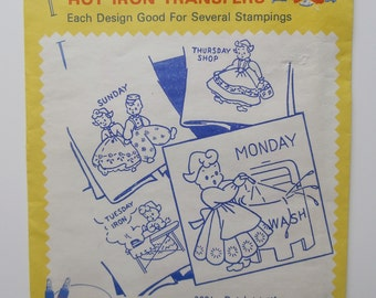 Vintage AUNT MARTHA'S Hot Iron Transfers 3021 Dutch Motifs Days Of The Week, Embroidery Transfers, Textile Painting, Needlepoint, Canvas.