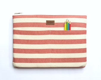 MacBook Pro Case, MacBook Case, MacBook Case 13, MacBook 13 Retina Case, 12 MacBook Case, Laptop Case, Laptop Sleeve - White & Pink Stripe