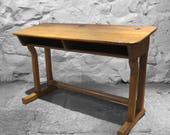 Antique School Desk Oak Twin Double 1920s Old Vintage