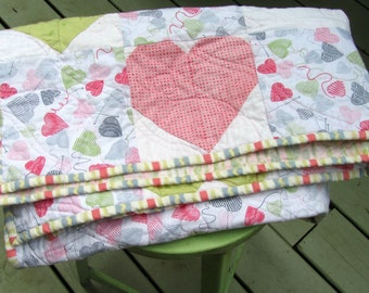 Baby Girl Quilt, Modern Baby Quilt, Hearts, Pink and Green, Crib Quilt, Cot Quilt