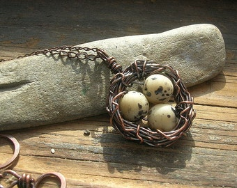 Bird Nest necklace copper nest necklace tan glass beads with black flecks mothers day Mothers or grandmothers