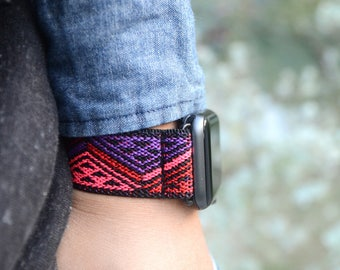 Tefeca Red Triangle Line Pattern Stretch Elastic Apple Watch Band 38mm 42mm - ERTL