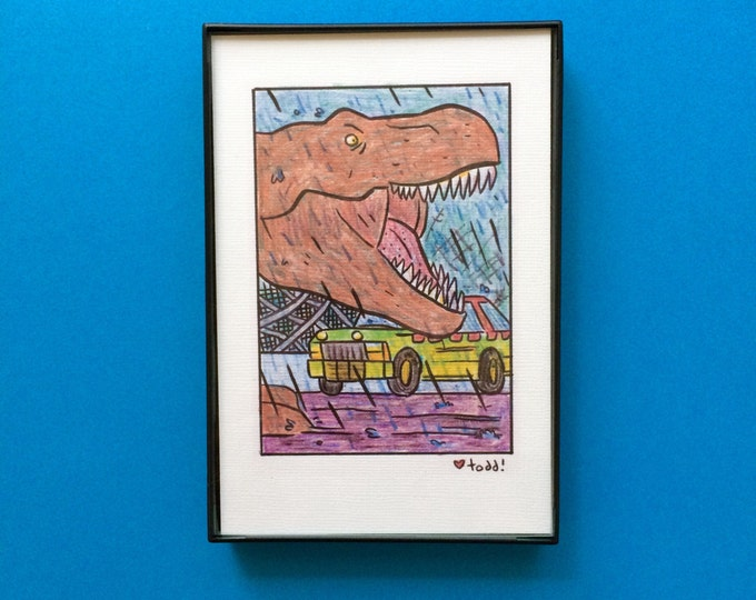 Art, T Rex, Jurassic Park, 4 x 6 inch Print, Pop Culture, Movies, Dinosaurs, Steven Spielberg, Wall Decor, Gift Idea