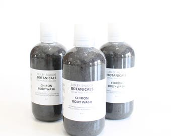 Chiron Body Wash. Detoxifying Shower Gel with Activated Charcoal. Castor Oil. Blackberry Sage Scent. Liquid Body Soap. Bacne Acne Relief.