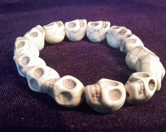 Big Skull Bracelet - white gothic occult wristband