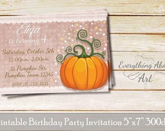 Pumpkin Invitation, Little Pumpkin Invites, Baby Birthday Party, Fall Pumpkin Invite, Fairytale Invitation, PERSONALIZED Invites