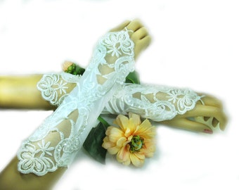 Bridal gloves - Satin gloves -  white fingerless gloves -  Wedding gloves - formal gloves - # 60