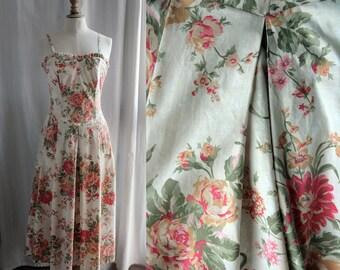Vintage Laura Ashley dress, sleeveless,floral pattern, cotton
