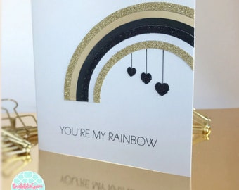 Happy Valentines card Valentines heart My Love rainbow art card Black & white Gold handmade husband Valentine for her Valentines metallic