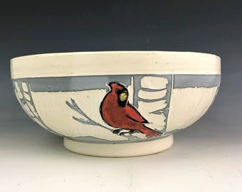 Sgraffito Pottery Bowl with Red Cardinal on White Birch