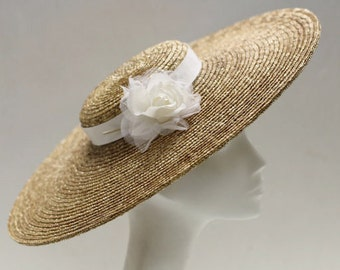 The Astrid Wedding Hat - Ivory Silk Rose Wedding Hat - Straw Fascinator Hat for Mother Of The Bride - Formal Hat