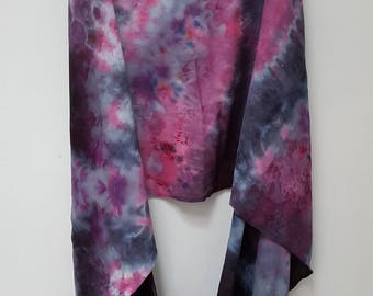 Hand Dyed Rayon Infinity Scarf in Pink, Gray, & Black