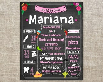 Fiesta Chalkboard Birthday Sign, Mexican Party 1st Birthday Sign, Cinco De Mayo Birthday Party Sign, Fiesta Wall Art Poster, ANY ages