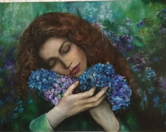 Oil painting on canvas.  Wall art. Original painting. Tender woman. Hortencias. Hortensias. Flowers. Woman among flowers