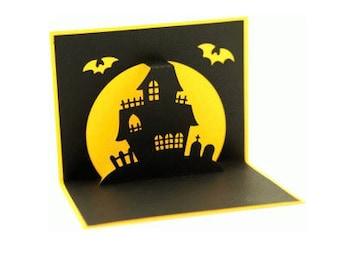 Haunted House Pop Up Card , Bats , Adults , Kids , Halloween , Trick or Treat , PaperCut
