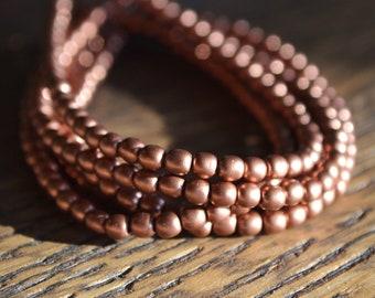 100 Matte Copper 3mm- Czech Glass Druk Beads (227-100)