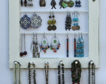 Jewelry Display Organizer shabby chic  Cream / 40 - 60 Earrings / 16 - 30Necklaces