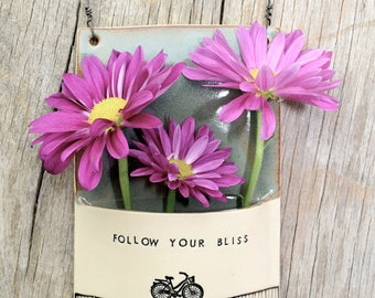 Ceramic flower wall pocket with bike. Follow your bliss. Love the ride. Handmade clay wall vase. Thank you gift. Made to Order.