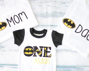 Baby boy first birthday batman number one customizable onesie, Add Parents Shirt boy cake smash outfit  Baby boy 1st birthday batman costume