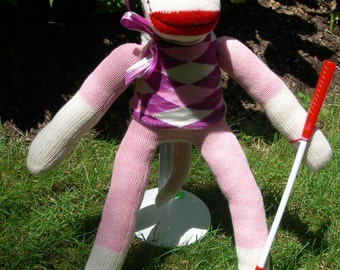 FORE!! Boy Or Girl Golfer Sock Monkey Doll With Visor And Club