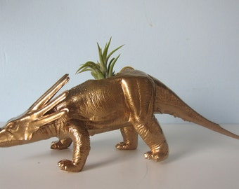 Upcycled Dinosaur Planter - Gold Metallic Ceratops with Tillandsia Air Plant