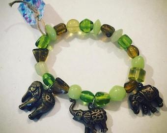 Copper Elephant and Glass Bead Bracelet