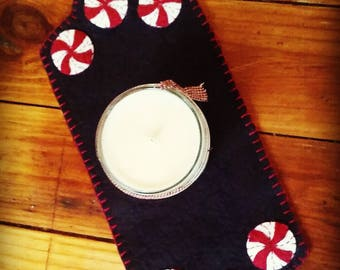 Candy cane peppermint small runner penny rug candle mat handmade