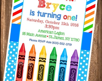 Crayon Birthday Invitation,Painting Party Birthday Invitation, PRINTABLE Paint Party Invites, Crayola Party