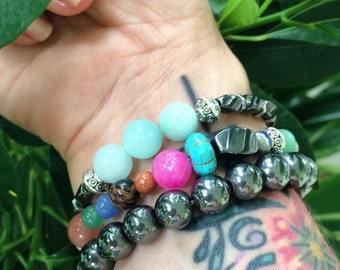 Handmade Women's Hemtatie bracelet stretch magnetic energy healing yoga meditation