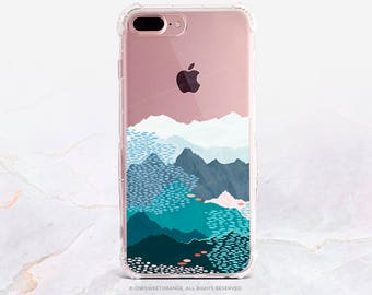 iPhone 8 Case iPhone X Case iPhone 7 Case Mountains Clear GRIP Rubber Case iPhone 7 Plus Clear Case iPhone SE Case Samsung S8 Plus Case U258