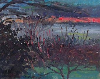 Pat (Patricia) Algar Original Oil Painting - Winter Sunset