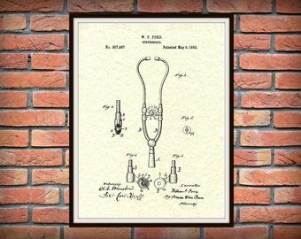 Patent 1882 Ford Stethoscope Art Print - Poster - Doctors Office - Physician - Medical Wall Art  - EMT - Nurse Wall Art - Hospital Wall Art