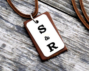 Personalized Initials Necklace, Mens Necklace, Custom Leather Necklace, Boyfriend Gift, Anniversary Gift, Personalized Gift, Christmas Gifts