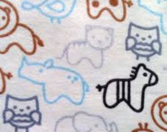 Nursery Blue Animal Silhouette Outlines  Cotton Flannel Fabric by the Yard
