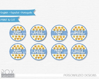 Emoji Cupcake Toppers, Favor Tags, Napkin Rings, Digital – Customized