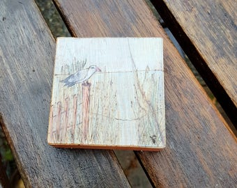 Tiny Sea view landscape Mini Pyrography Art Piece, choose hanger or magnet, Seagull, Ocean, grasses, old fence in chalk pencil art, pastels