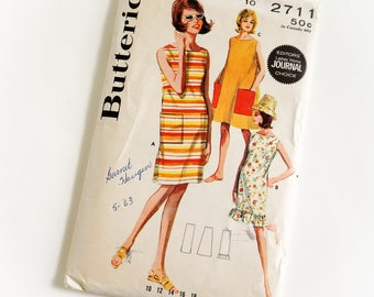 Vintage 1960s Womens Size 10 One Piece Beachdress Butterick Sewing Pattern 2711 Complete / bust 31 waist 24 / Smmer Beach Resort Wear